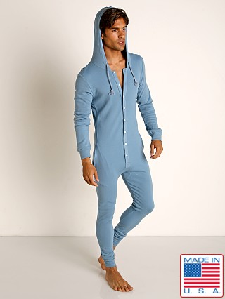 Model in slate blue Go Softwear Moderne Hooded Union Suit