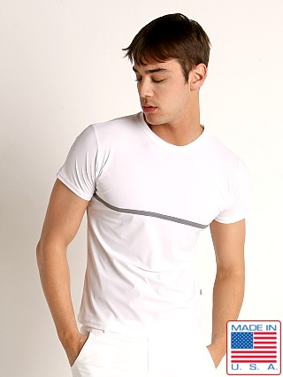 Model in white Sauvage Luxury Xtra-Life Nylon/Lycra T-Shirt