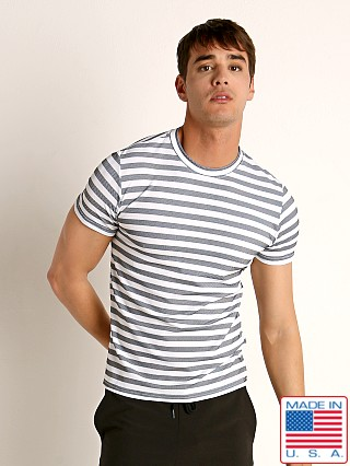 Model in heather/white Sauvage Luxury Italian Knit Striped T-Shirt