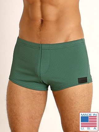 Model in army Sauvage Pique Textured Square Cut Swim Trunk