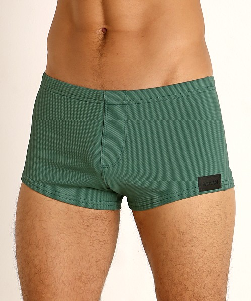 Sauvage Pique Textured Square Cut Swim Trunk Army