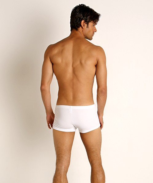 Sauvage Pique Textured Square Cut Swim Trunk White