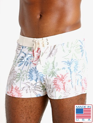 Model in tahiti print Sauvage Retro Lycra Swimmer