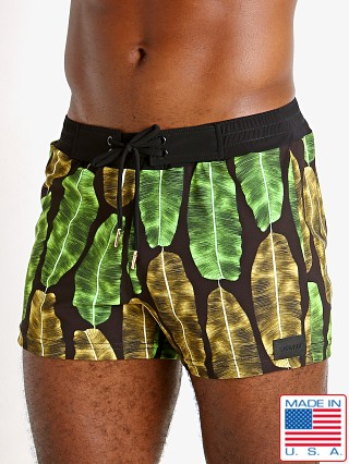 Model in banana leaf print Sauvage Retro Lycra Swimmer