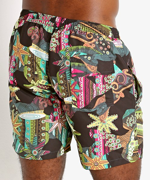 "Sauvage 17"" Pull-On Surf Trunk Jungle Batik"