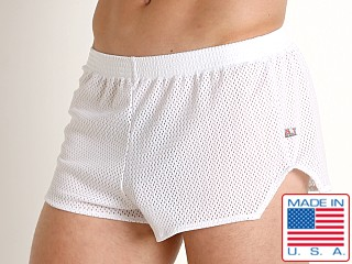 Model in white American Jock Team Mesh Short