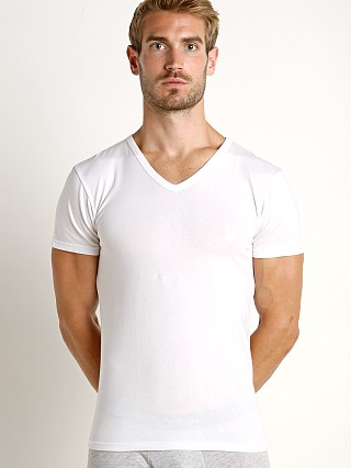 Model in white Emporio Armani Stretch Cotton V-Neck Shirt