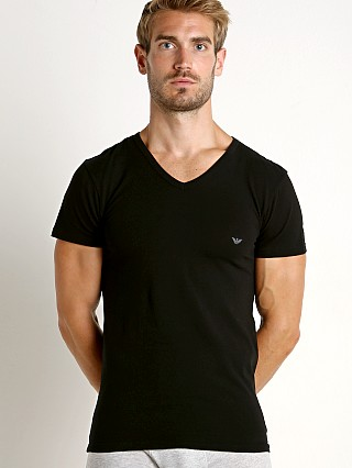 Emporio Armani Stretch Cotton V-Neck Shirt Black