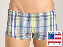 Sauvage Como Italia Plaid Square Cut Swim Trunk Lime