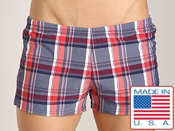Sauvage Como Italia Plaid Swim Trunk Navy