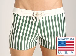 Sauvage Designer Stripes Lycra Swimmer Olive/White Stripe