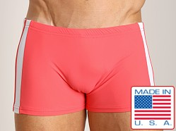Sauvage Sidestripe Surf-Style Square Cut Coral/White