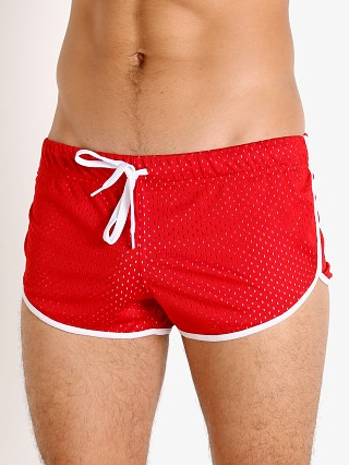 Model in red/white Jack Adams Air Mesh Track Short