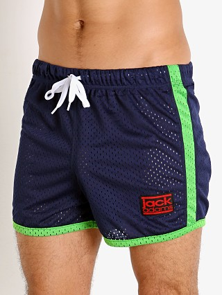 Model in navy/lime Jack Adams Air Mesh Training Short
