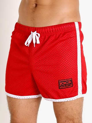 Model in red/white Jack Adams Air Mesh Training Short