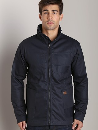 Model in raw G-Star Faeroes Military Jacket Blue Brace Denim