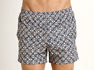 Model in beige GrigioPerla Mosaic Beach Shorts
