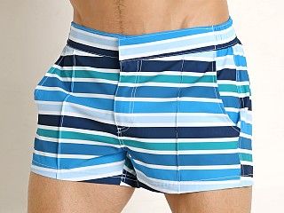 2xist Yacht Swim Shorts Beach Stripe Blue Aster