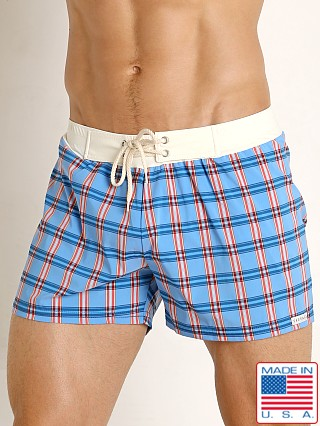 Sauvage Como Italia Plaid Swim Short Steel
