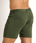 St33le Knit Jeans Shorts Olive, view 4