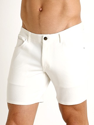 Model in white St33le Knit Jeans Shorts