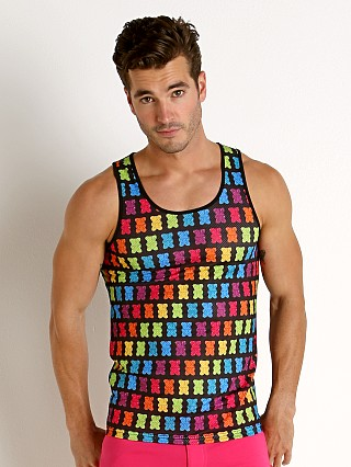 Model in black/rainbow St33le Stretch Mesh Tank Top Printed Gummy Bears