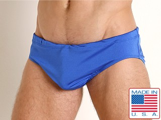 Model in royal Rick Majors Power Spandex Drawcord Brief