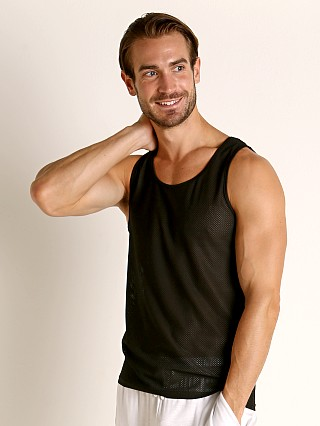 Model in black St33le Air Mesh Performance Tank