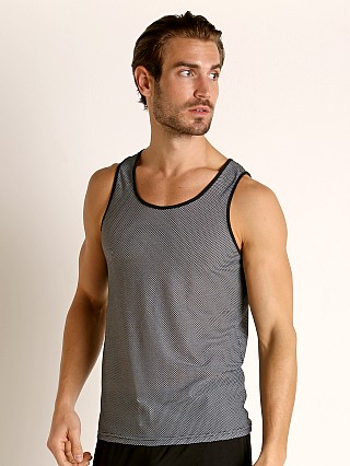 Model in grey St33le Air Mesh Performance Tank