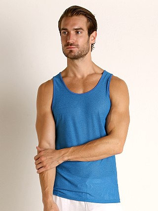Model in azure St33le Air Mesh Performance Tank