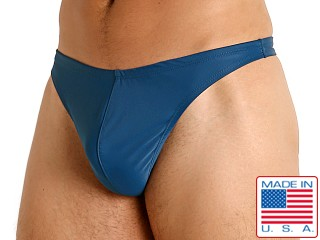 Model in teal LASC Brazil Swim Thong