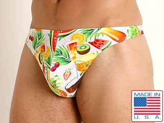 Model in tropical picnic LASC Brazil Swim Thong