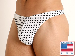 Model in white/black polka dots LASC Brazil Swim Thong