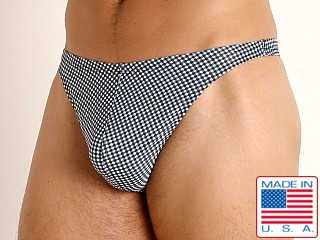Model in black gingham checks LASC Brazil Swim Thong