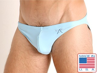 Model in baby blue LASC Super Low Rise Swim Brief