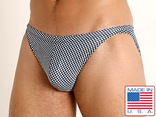 Model in black gingham checks LASC Super Low Rise Swim Brief