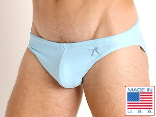 Model in baby blue LASC St. Tropez Low Rise Swim Brief