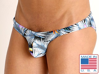 Model in tropic fronds Rick Majors Super Low Rise Swim Brief