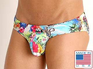 Model in passion fruit Rick Majors Low Rise Swim Brief