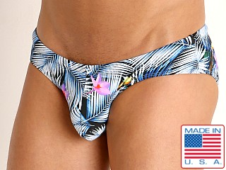 Model in tropic fronds Rick Majors Low Rise Swim Brief