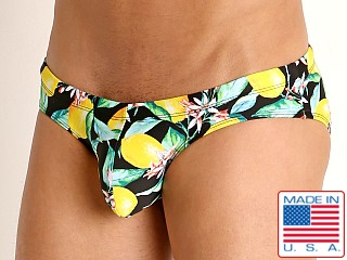 Model in lemon squeeze Rick Majors Low Rise Swim Brief