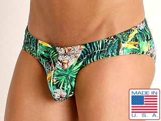 Model in forest leopard Rick Majors Low Rise Swim Brief