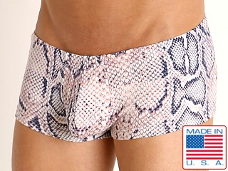 Model in anaconda Rick Majors Low Rise Swim Trunk