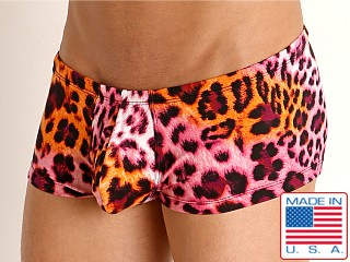 Model in sahara cheetah Rick Majors Low Rise Swim Trunk