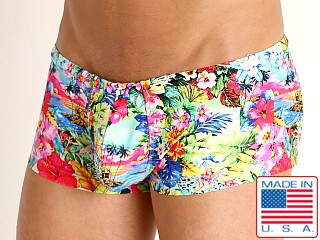 Model in passion fruit Rick Majors Low Rise Swim Trunk