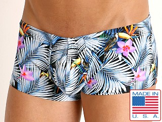 Model in tropic fronds Rick Majors Low Rise Swim Trunk