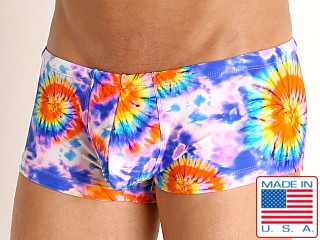 Model in tie dye spirals Rick Majors Low Rise Swim Trunk