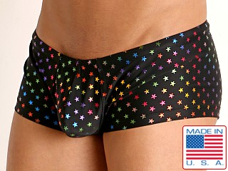 Model in rainbow stars Rick Majors Low Rise Swim Trunk