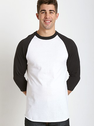 Model in white/black Soffe Classic Baseball Jersey