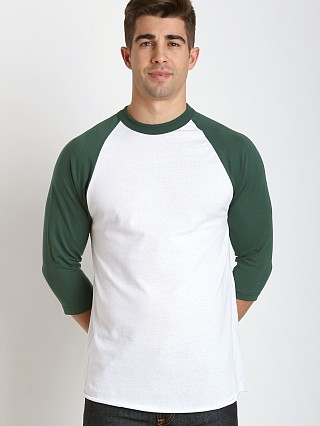 Model in white/green Soffe Classic Baseball Jersey